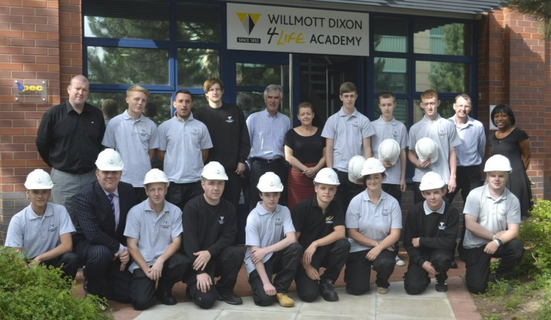 New Willmott Dixon apprentices outside the 4Life Academy