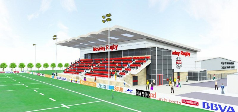 A CGI of Moseley's new main grandstand