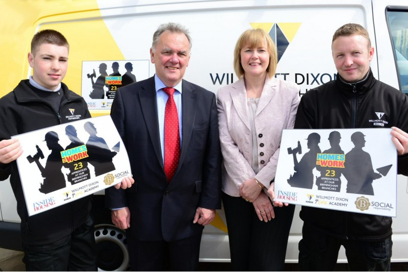 Willmott Dixon director of operations for Birmingham Pauline Chatt and Sir Albert Bore, flanked by apprentices Aaron Sirrell and Garry Fowkes